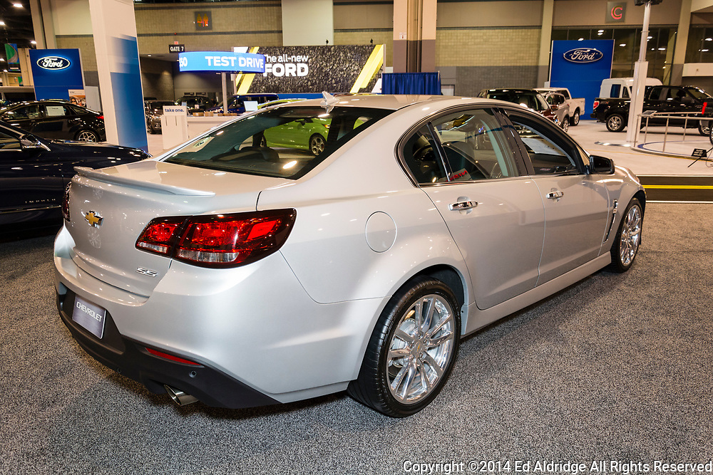 CHARLOTTE, NORTH CAROLINA - NOVEMBER 20, 2014: Chevrolet SS performance sedan on display during the 2014 Charlotte International Auto Show at the Charlotte Convention Center.