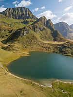 Aerial View of Swiss Alpine Lake in Summer in Ticino, Switzerland.