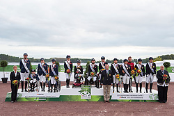 Podium Team Test 1. GBR, 2. NED, 3. GER - Alltech FEI World Equestrian Games™ 2014 - Normandy, France.<br /> © Hippo Foto Team - Jon Stroud <br /> 25/06/14
