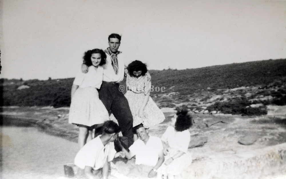 young adult males and females enjoying France 1950s