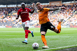 Jordy de Wijs of Hull City takes on Benik Afobe of Bristol City - Mandatory by-line: Robbie Stephenson/JMP - 24/08/2019 - FOOTBALL - KCOM Stadium - Hull, England - Hull City v Bristol City - Sky Bet Championship
