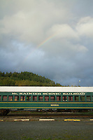 Historic railroad in the town of Elbe, WA, which sits on the edge of Mt. Rainier National Park.