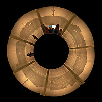 Little Planet View of the Display of Ground Zero at the Hiroshima Peace Museum. Composite of 19 image taken with a Fuji X-T1 camera and 23 mm f/1.4 lens (ISO 800, 23 mm, f/1.4, 1/30 sec).
