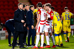 Doncaster Rovers manager Grant McCann speaks to John Marquis of Doncaster Rovers - Mandatory by-line: Robbie Stephenson/JMP - 26/03/2019 - FOOTBALL - Keepmoat Stadium - Doncaster, England - Doncaster Rovers v Bristol Rovers - Sky Bet League One
