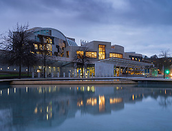 Night view of the Scottish Parliament building at Holyrood in Edinburgh, Scotland, UK