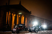 People drive their ATV's down the steps of the Philadelphia Museum of Art during the first winter storm of the season. At least 5.7 inches of snow descended on Philadelphia, the most since March 2018.<br /> <br /> Credit: Cameron Pollack for The New York Times