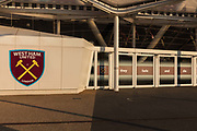 West Ham United soccer stadium in the Queen Elizabeth Olympic Park during the coronavirus pandemic on the 7th May 2020 in London, United Kingdom. The Olympic sports venues nearby include the London Stadium, and Lee Valley Velopark. The ironic slogan they Fade And Die is from the song Im Forever Blowing Bubbles which has become the chant of the West Ham Fans.