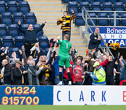 Alloa Athletic's keeper Scott Bain  with their fans at the end.<br /> Falkirk 3 v 1 Alloa Athletic, Scottish Championship game played today at The Falkirk Stadium.<br /> © Michael Schofield.