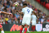 GOAL - Daniel Sturridge of England heads the ball to score his sides 1st goal. FIFA World cup qualifying match, european group F, England v Malta at Wembley Stadium in London on Saturday 8th October 2016.<br /> pic by John Patrick Fletcher, Andrew Orchard sports photography.