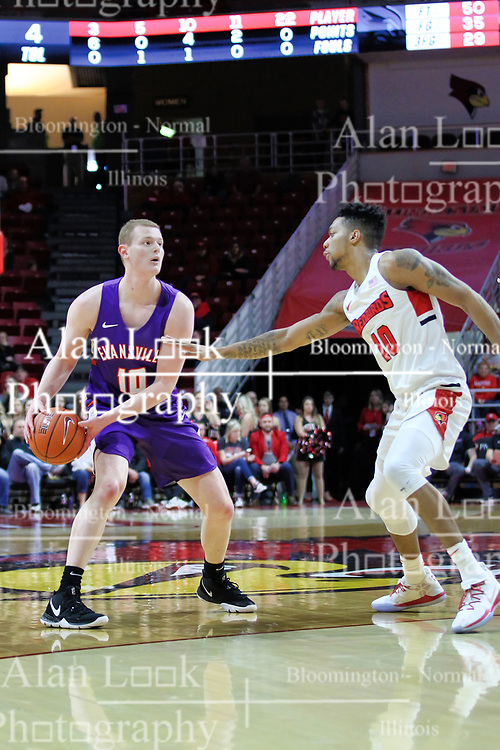 NORMAL, IL - January 05: Evan Kuhlman defended by Phil Fayne during a college basketball game between the ISU Redbirds and the University of Evansville Purple Aces on January 05 2019 at Redbird Arena in Normal, IL. (Photo by Alan Look)