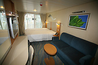 Oasis of the Seas at the shipyard in Turku, Finland where she is being built..Photos show Royal Caribbean's latest  ship 2 months before completion. ..Stateroom.