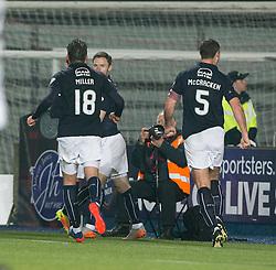 Falkirk's Bob McHugh celebrates after scoring their third goal. Falkirk 3 v 1 St Mirren, Scottish Championship game played 3/12/2016 at The Falkirk Stadium.