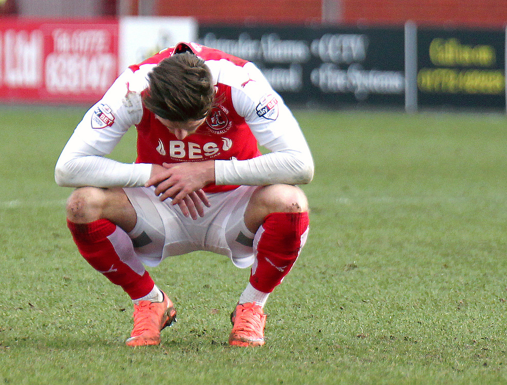 Fleetwood Town's Wes Burns looks dejected at the final whistle as his side let their 2-1 lead slip in the closing minutes of the game<br /> <br /> Photographer Rich Linley/CameraSport<br /> <br /> Football - The Football League Sky Bet League One - Fleetwood Town v Sheffield United - Saturday 5th March 2016 - Highbury Stadium - Fleetwood    <br /> <br /> © CameraSport - 43 Linden Ave. Countesthorpe. Leicester. England. LE8 5PG - Tel: +44 (0) 116 277 4147 - admin@camerasport.com - www.camerasport.com