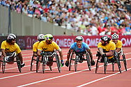 David Weir (GBR) does a lap of honour after winning Mens Wheelchair during the Muller Anniversary Games at the London Stadium, London, England on 9 July 2017. Photo by Jon Bromley.