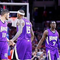 02 November 2014: Sacramento Kings forward Omri Casspi (18), Sacramento Kings center DeMarcus Cousins (15), Sacramento Kings guard Darren Collison (7), and Sacramento Kings guard Ramon Sessions (9) are seen during the Sacramento Kings 98-92 victory over the Los Angeles Clippers, at the Staples Center, Los Angeles, California, USA.