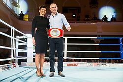 Maja Makovec Brencic, Minister of Education and Sport with Best boxer Denis Lazar of Slovenia celebrate after the Dejan Zavec Boxing Gala event in Ljubljana, on March 11, 2017 in Grand Hotel Union, Ljubljana, Slovenia. Photo by Vid Ponikvar / Sportida