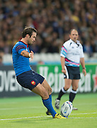 London, Great Britain, Morgan PARRA , kicking,  during a Pool D game,     France vs Romania. 2015 Rugby World Cup. Venue. The Stadium Queen Elizabeth Olympic Park. Stratford. East London. England,, Wednesday  23/09/2015. <br /> [Mandatory Credit; Peter Spurrier/Intersport-images]