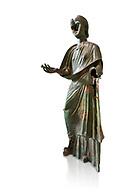 Bronze statue of Roman empress Julia Aquilia Severa found at Sparta. circa 221-222 AD.  Athens National Archaeological Museum, Cat No X23321. Against white.<br /> <br /> The women in the Bronze statue wears a Chiton and himation and would have had a crwon on her head. The hair style is typical of the Severan dynisty. Julia Aquilia was the last wife of emperor Elagobalus (218-222 AD) and the damage to the statue is due to a building collapsing on it after a fire circa 221-222 AD .<br /> <br /> If you prefer to buy from our ALAMY STOCK LIBRARY page at https://www.alamy.com/portfolio/paul-williams-funkystock/greco-roman-sculptures.html . Type -    Athens    - into LOWER SEARCH WITHIN GALLERY box - Refine search by adding a subject, place, background colour, etc.<br /> <br /> Visit our ROMAN WORLD PHOTO COLLECTIONS for more photos to download or buy as wall art prints https://funkystock.photoshelter.com/gallery-collection/The-Romans-Art-Artefacts-Antiquities-Historic-Sites-Pictures-Images/C0000r2uLJJo9_s0