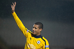 Falkirk's Lyle Taylor cele at fans at the end..Airdrie United 1 v 4 Falkirk, 22/12/2012..©Michael Schofield.