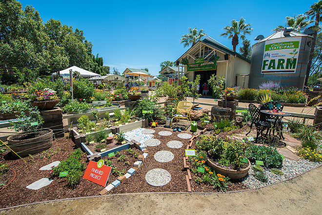 The California Department of Water Resources displays water efficient gardens and step-by-step examples of how to replace grass turf in the Kaiser Permanente Farm at the California State Fair in Sacramento, Calif. on July 8, 2016.