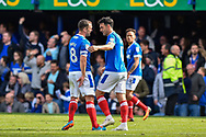 Portsmouth Players Celebrate after Portsmouth Midfielder, Gary Roberts (11) scores a goal 1-1 during the EFL Sky Bet League 2 match between Portsmouth and Plymouth Argyle at Fratton Park, Portsmouth, England on 14 April 2017. Photo by Adam Rivers.