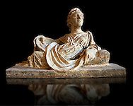Etruscan Hellenistic style cinerary, funreary, urn  cover with a depiction of a women,  National Archaeological Museum Florence, Italy, black background .<br /> <br /> If you prefer to buy from our ALAMY PHOTO LIBRARY  Collection visit : https://www.alamy.com/portfolio/paul-williams-funkystock - Scroll down and type - Etruscan Florence - into LOWER search box. (TIP - Refine search by adding a background colour as well).<br /> <br /> Visit our ETRUSCAN PHOTO COLLECTIONS for more photos to download or buy as wall art prints https://funkystock.photoshelter.com/gallery-collection/Pictures-Images-of-Etruscan-Historic-Sites-Art-Artefacts-Antiquities/C0000GgxRXWVMLyc