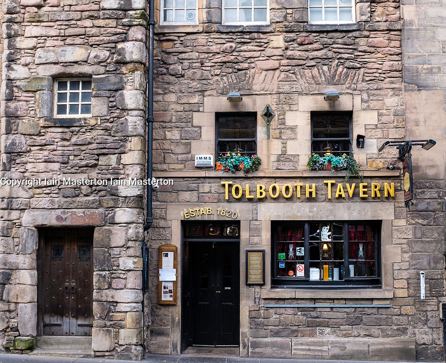 Exterior of Tolbooth Tavern pub on the Royal Mile in Edinburgh, Scotland, United Kingdom.