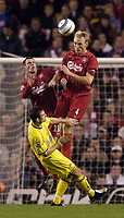 Photo. Jed Wee. Digitalsport<br /> Liverpool v Charlton Athletic, Barclays Premiership, 23/10/2004.<br /> Liverpool's Sami Hyypia rises highest to win the ball.