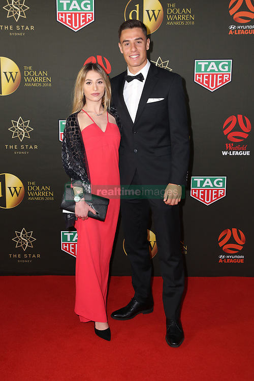 Players from the Westfield W-League and Hyundai A-League arrive on the red carpet for the 2018 Dolan Warren Awards at The Star Event Centre - 80 Pyrmont St, Pyrmont, NSW. 30 Apr 2018 Pictured: Michela Foti and Chris Ikonomidis, Western Sydney Wanderers. Photo credit: Richard Milnes / MEGA TheMegaAgency.com +1 888 505 6342