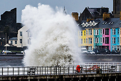 © Licensed to London News Pictures. 26/04/2017. Aberystwyth, UK. Storm Diana, with  winds gusting up to 60 or 70mph, combined with a high tide, bring huge waves battering the sea defences in Aberystwyth on the Cardigan Bay coast of west Wales. The UK Met Office has issued a yellow warning for wind today and tomorrow for western part of the British Isles, with the risk of damage to property and likely disruption to travel .Photo credit: Keith Morris/LNP
