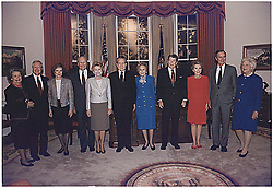 File photo : United States President George H.W. Bush and First Lady Barbara Bush pose with the former presidents and first ladies in the replica of the Oval Office at the Dedication of the Ronald Reagan Presidential Library in Simi Valley, California on November 4, 1991. The participants include: Former First Lady Lady Bird Johnson, former President Jimmy Carter and former First Lady Rosalyn Carter, former President Gerald Ford and former First Lady Betty Ford, former President Richard M. Nixon and former First Lady Pat Nixon, and former President Ronald Reagan and former First Lady Nancy Reagan.<br /> Credit: White House via CNP/ABACAPRESS.COM