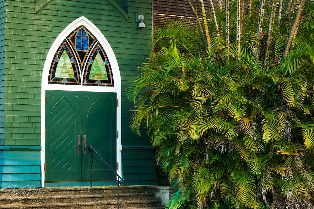 Door and palm at Waioli Huiia Church, Hanalei, Kauai, Hawaii USA