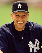 BRONX, NY - 2000:  Derek Jeter of the New York Yankees looks on prior to an MLB game at Yankee Stadium in The Bronx, New York, (Photo by Ron Vesely)  Subject:   Derek Jeter