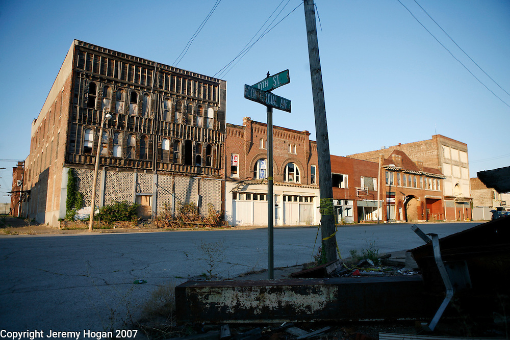 Collapsing buildings line Commercial avenue in downtown Cairo, Illinois, a city in decline for decades at the confluence of the Ohio and Mississippi rivers.