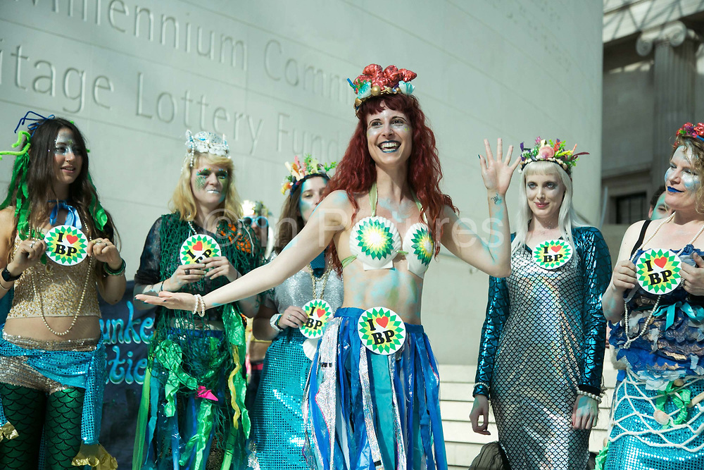 Bp-or-not-BP stage a splash mob art intervention at the British Museum in protest against the continued BP sponsorship of the exhibition Sunken Cities 25th of September 2016.  A flock of merfolk and BP pirates roamed the museum as well as a kraken, a giant sea monster. The merfolk all advocate more oil explorationa dn more climate change to raise the sea levels and make their life better.