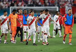 March 23, 2018 - Miami Gardens, Florida, USA - The Peru National Soccer Team exits the field at the end of a FIFA World Cup 2018 preparation match against the Croatia National Soccer Team at the Hard Rock Stadium in Miami Gardens, Florida. (Credit Image: © Mario Houben via ZUMA Wire)