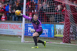 Stenhousemuir's keeper Graeme Smith. Stenhousemuir 1 v 0 Airdrie, Scottish Football League Division One played 26/1/2019 at Ochilview Park.