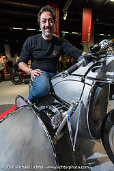 Vincenzo Ciancio on his Inglourious Basterds (Italy) built PanUral 900 cc Ural bottom end - Harley-Davidson top end custom with sidecar in the AMD World Championship of Custom Bike Building in the custom themed Hall 10 at the AMD World Championship of Custom Bike Building show in the custom dedicated Hall 10 at the Intermot Motorcycle Trade Fair. Cologne, Germany. Saturday October 8, 2016. Photography ©2016 Michael Lichter.