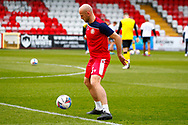 Scott Cuthbert of Stevenage warming up  during the EFL Sky Bet League 2 match between Stevenage and Barrow at the Lamex Stadium, Stevenage, England on 27 March 2021.