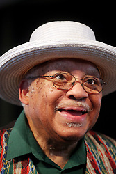 29 April 2012. New Orleans, Louisiana,  USA. <br /> New Orleans Jazz and Heritage Festival. JazzFest.<br /> Legendary Jazz pianist Ellis Marsalis plays the Jazz tent.<br /> Ellis Marsalis passed away April 1st 2020 of complications associated with Coronavirus - COVID-19.<br /> Photo ©; Charlie Varley/varleypix.com