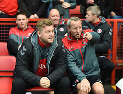 Charlton Athletic Manager Karl Robinson (left) with assistant manager Lee Bowyer