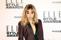 © Licensed to London News Pictures. 18/02/2014, UK. Suki Waterhouse,  ELLE Style Awards, One Embankment, London UK, 18 February 2014. Photo credit : Richard Goldschmidt/Piqtured/LNP