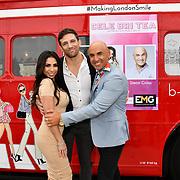 Francine Lewis, Alex Reid and Simon Gross attend Celeb Bri Tea, on board the BB Bakery bus on 22 March 2019, London, UK.