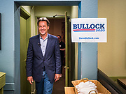 10 JULY 2019 - MARSHALLTOWN, IOWA: Governor STEVE BULLOCK (D-MT) leaves a campaign stop at a cafe in Marshalltown Wednesday. Gov. Bullock is in a crowded field of Democrats vying to be the party's Presidential nominee in 2020. Iowa traditionally hosts the the first election event of the presidential election cycle. The Iowa Caucuses will be on Feb. 3, 2020.      PHOTO BY JACK KURTZ