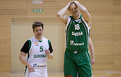 Jaka Lopatic and Raso Nesterovic at basketball match between Slovenian Basketball journalists and  Basketball federation of Slovenia, on March 13, 2013 in Arena Vitranc, Kranjska Gora, Slovenia. (Photo by Vid Ponikvar / Sportida.com)