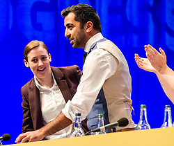 Pictured: Mhairi Black and Humza Yousaf enjoy the applause from the conference delegates.<br /> The members of the SNP gathered in the Scottish Events Centre in Glasgow for their annual conference.<br /> <br /> Ger Harley | EEm 9 October 2017