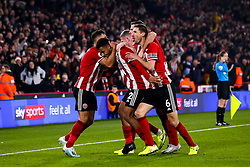 Lys Mousset of Sheffield United celebrates with teammates after scoring a goal to make it 2-0 - Mandatory by-line: Robbie Stephenson/JMP - 24/11/2019 - FOOTBALL - Bramall Lane - Sheffield, England - Sheffield United v Manchester United - Premier League