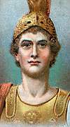 Alexander the Great  (Alexander III of Macedon) 356-323 BC. Chromolithograph of 1924 showing head and shoulders of Alexander in helmet.