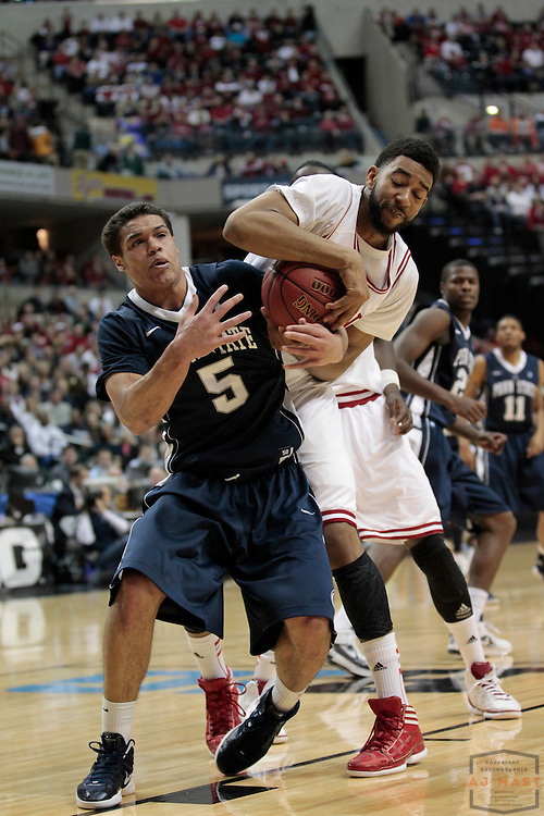 08 March 2012: Indiana Forward Christian Watford (2)  and Penn State Nittany Lions guard Matt Glover (5) as the Indiana Hoosiers played the Penn State Nittany Lions in a college basketball game during the Big 10 Men's Basketball Championship in Indianapolis