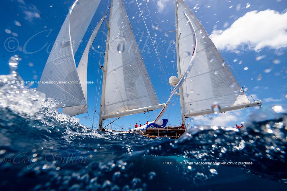 Huckleberry sailing in the St. Barth's Bucket regatta, day two.